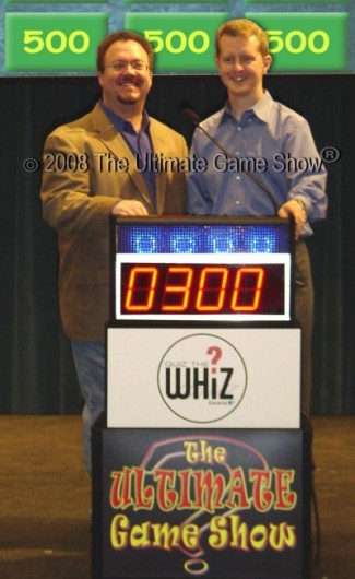 Ultimate Game Show's Bryan Quinn with Jeopardy! star Ken Jennings