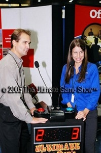 Ultimate Game Show's Head-To-Head podium as marketing and promotional event entertainment.
